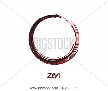 Zen Enso Symbol Original Vector Design. Painting Enso Zen Circle Chinese Brush Style Illustration. L
