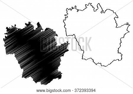Redange Canton (grand Duchy Of Luxembourg, Administrative Divisions) Map Vector Illustration, Scribb
