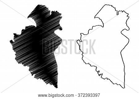 Remich Canton (grand Duchy Of Luxembourg, Administrative Divisions) Map Vector Illustration, Scribbl