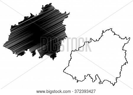 Wiltz Canton (grand Duchy Of Luxembourg, Administrative Divisions) Map Vector Illustration, Scribble
