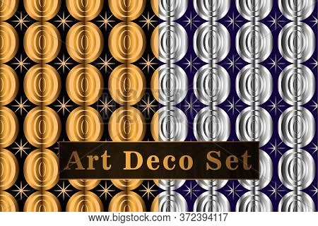 Art Deco Gold And Silver Seamless Pattern Set. Art Deco Pattern Circles On A Black Background. Vecto