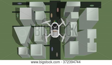 Flying Unmanned Taxi. Futuristic Concept. Taxi Drone. Destination. Part Of Town. Realistic City. Roa
