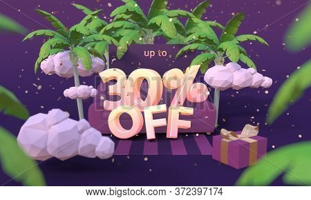 30 Thirty Percent Off 3d Illustration In Cartoon Style. Summer Clearance, Sale, Discount Concept.