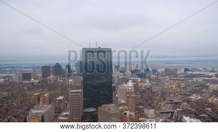 Aerial View Over The City Of Boston - Boston. Usa - April 5, 2017