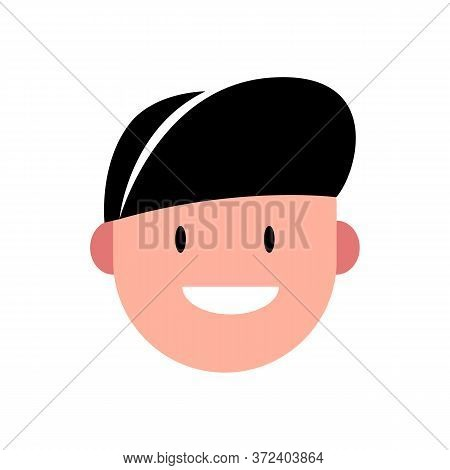 Vector Illustration Of Young Smiling Man In A Cap. Portrait Of Handsome Cheerful Teenager Hipster. A
