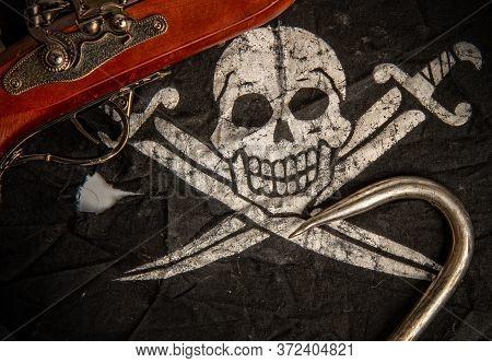 Black Pirate Flag Jolly Roger Pistol And Steel Sharp Hook