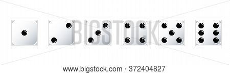 White Game Dice Set. Set Of Game Dice, Isolated . Dice Ifrom One To Six. Vector Illustration