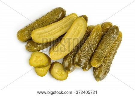 Marinated Pickled Cucumber Isolated On White Background With Clipping Path And Full Depth Of Field.