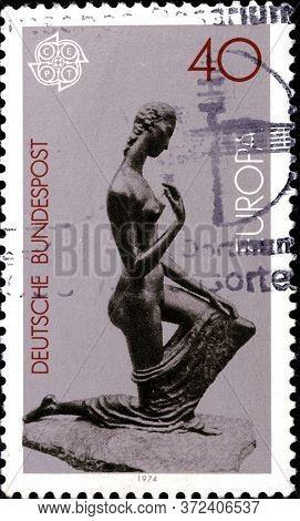 02 10 2020 Divnoe Stavropol Territory Russia The Postage Stamp Germany 1974 Europa Stamps - Sculptur