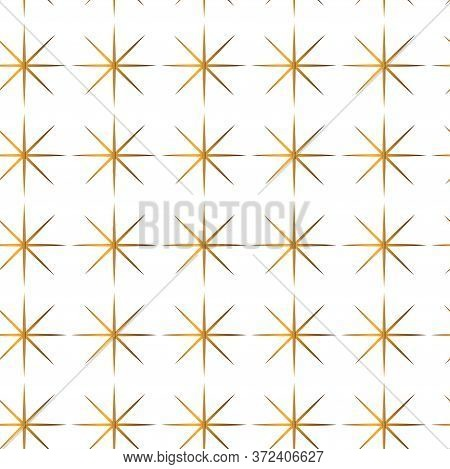 Art Deco Isolated Seamless Pattern. Art Deco Golden Stars Pattern On A White Background. Stock Vecto