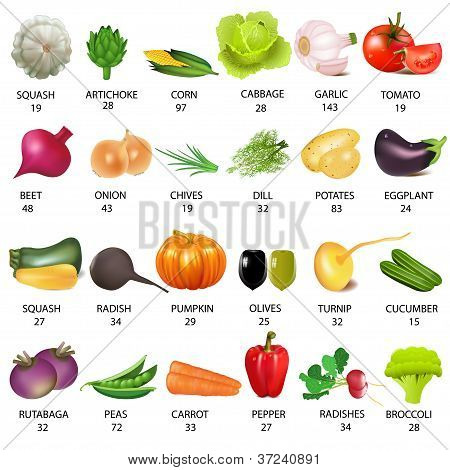 Set Vegetable With Calories On White