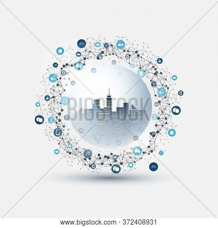Futuristic Smart City, Iot And Cloud Computing Design Concept With Polygonal Mesh, Cluster And Nodes