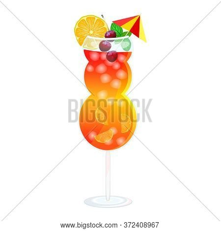 Mai Tai Cocktail Isolated On White Background. Mai Tai Day. Glass With Tropical Alcohol Beverage, Li