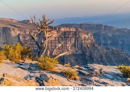 Wadi Ghul Canyon In Hajar Mountains, Oman