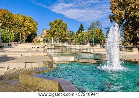 Belgrade / Serbia - September 30, 2018: Tasmajdan Park, With St. Mark's Church In The Background In