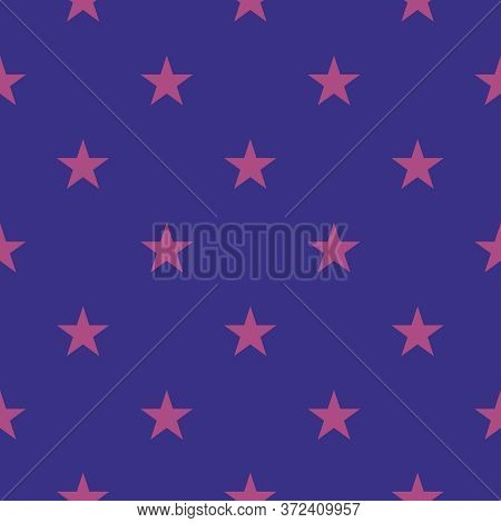 Tile Vector Pattern With Pink Stars On Dark Blue Background