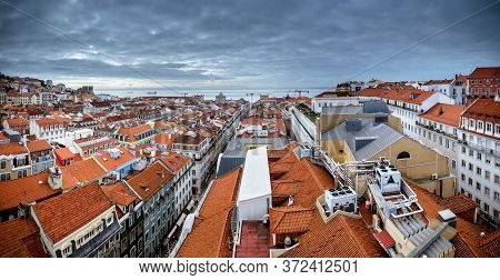 March 1, 2017. Lisbon, Portugal: Panoramic View From The Santa Justa Lift Elevator To The Old Part O
