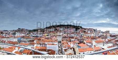 March 1, 2017. Lisbon, Portugal: Panoramic View From The Santa Justa Elevator To The Old Part Of Lis