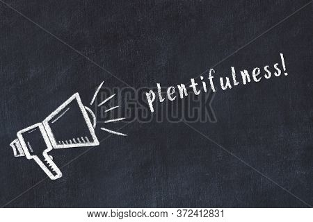 Black Chalkboard With Drawing Of A Loudspeaker And Inscription Plentifulness