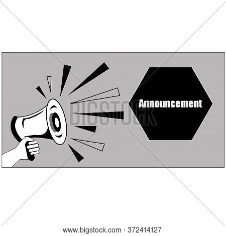 Black And White Icon For Mike, Announcement Sign. Editable Vector File Available