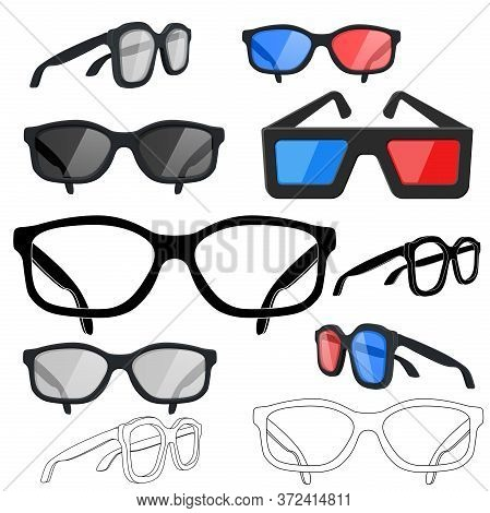Glasses Set. Sunglasses, Movie 3d Glasses, Vision Glasses. Vector Illustration Isolated On White Bac