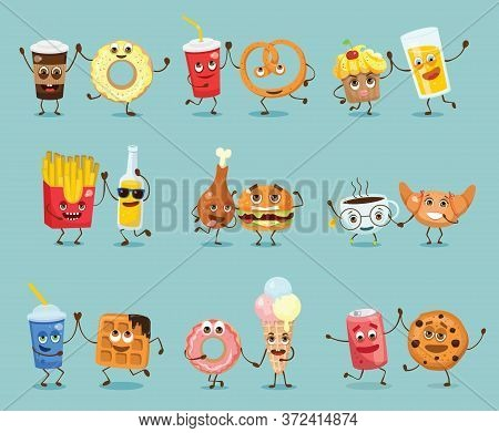 Cartoon Funny Friends Fast Food - Coockie And Can Of Soda, Pizza And Juice, Fresh And Waffle, Donut