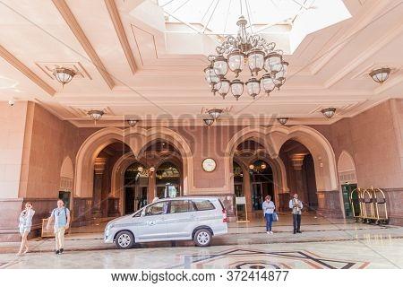 Abu Dhabi, Uae - March 9, 2017: Entrance Of Emirates Palace Hotel In Abu Dhabi, Capital Of United Ar