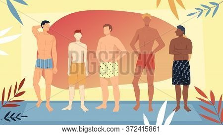 Concept Of Summer Vacations And Holidays, Beauty And Fashion. Multiethnic Group Of Men In Swimsuits