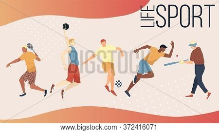 Sport Active Games Concept. Group Of People Performing Sports Activities Outdoors, Playing Ball Game