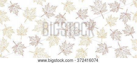 Yellow And Orange Leaves Seamless Background On White Background. Vector Illustration.
