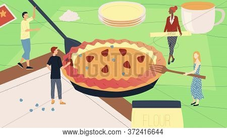 Baking Pie Or Cake Concept. Tiny Characters Decorating Huge Pie Holding Ingredients In Hands, Bringi
