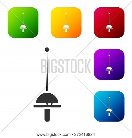 Black Fencing Icon Isolated On White Background. Sport Equipment. Set Icons In Color Square Buttons.