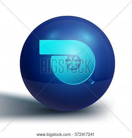 Blue Automotive Turbocharger Icon Isolated On White Background. Vehicle Performance Turbo. Turbo Com