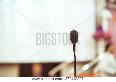Microphone For Speaker Of Speech On Stage For Speaking Audience At Seminar Conference Room, Mini Mic