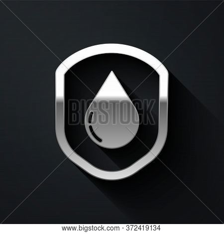 Silver Waterproof Icon Isolated On Black Background. Water Resistant Or Liquid Protection Concept. L