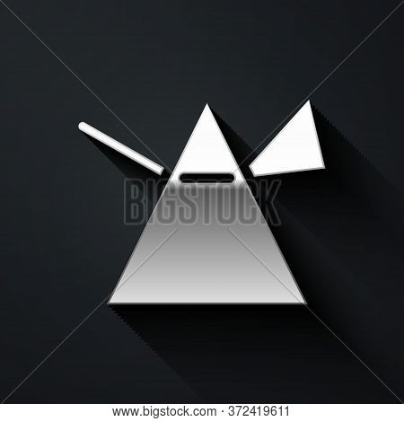 Silver Light Rays In Prism Icon Isolated On Black Background. Ray Rainbow Spectrum Dispersion Optica