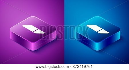 Isometric Eraser Or Rubber Icon Isolated On Blue And Purple Background. Square Button. Vector Illust