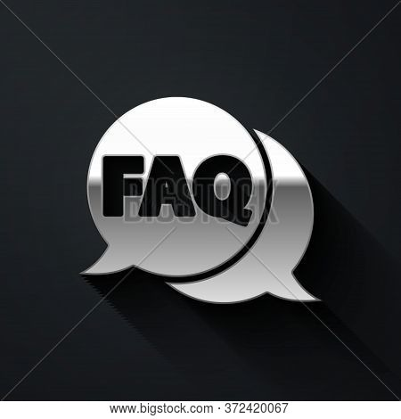 Silver Speech Bubble With Text Faq Information Icon Isolated On Black Background. Circle Button With