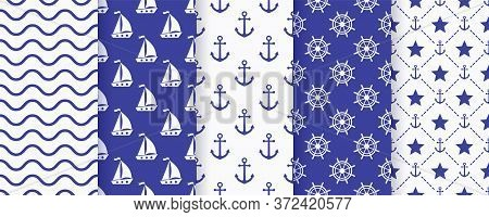 Nautical Seamless Pattern. Sea Navy Blue Backgrounds With Yacht, Anchor, Star, Waves And Wheel. Vect