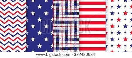4th July Seamless Pattern. Patriotic Prints. Vector. Happy Independence Day Textures. Set Of Usa Fla