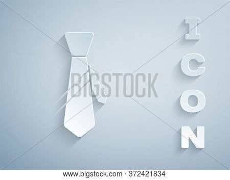 Paper Cut Tie Icon Isolated On Grey Background. Necktie And Neckcloth Symbol. Paper Art Style. Vecto