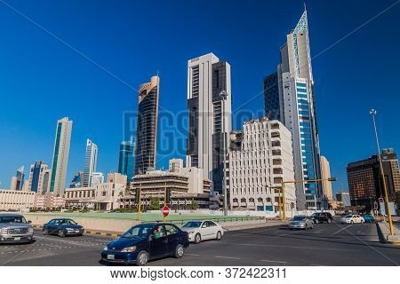 Kuwait City, Kuwait - March 17, 2017: Traffic And The Skyline Of Kuwait City.