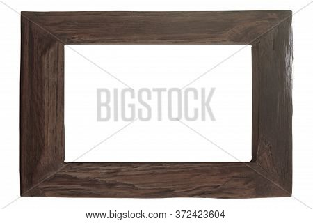 Photo Frame Old Plate Wood Isolated On White Background. Clipping Path.