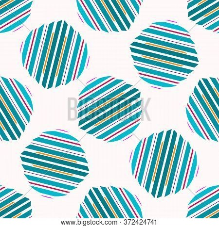 Seamless Vector Polka Dot Turquoise White Geometric Shape Pattern. Mid Century Modern Style Backgrou