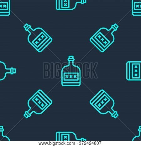 Green Line Alcohol Drink Rum Bottle Icon Isolated Seamless Pattern On Blue Background. Vector Illust