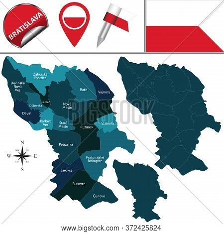 Vector Map Of Bratislava, Slovakia With Named Districts And Travel Icons