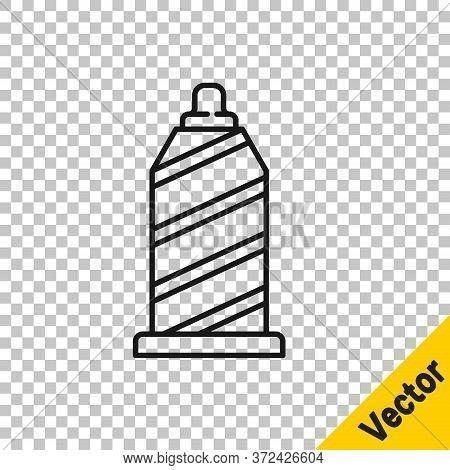 Black Line Sewing Thread On Spool Icon Isolated On Transparent Background. Yarn Spool. Thread Bobbin