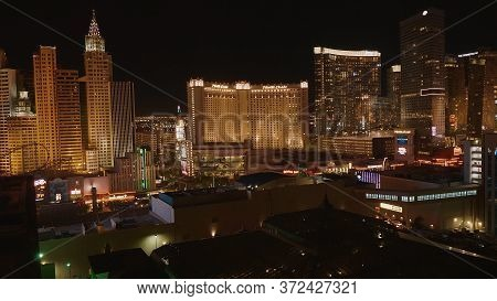 Las Vegas Hotels At Night - Beautiful Night View At The Las Vegas Strip - Las Vegas-nevada - October