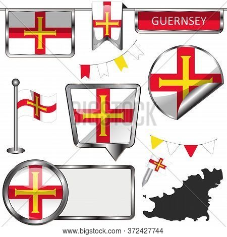 Vector Glossy Icons Of Flag Of Guernsey, Crown Dependencies Island, Great Britain