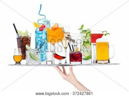 Hand Holding Tray With Various Cocktails Isolated On White Background.blue Lagoon, Martini, Negroni,